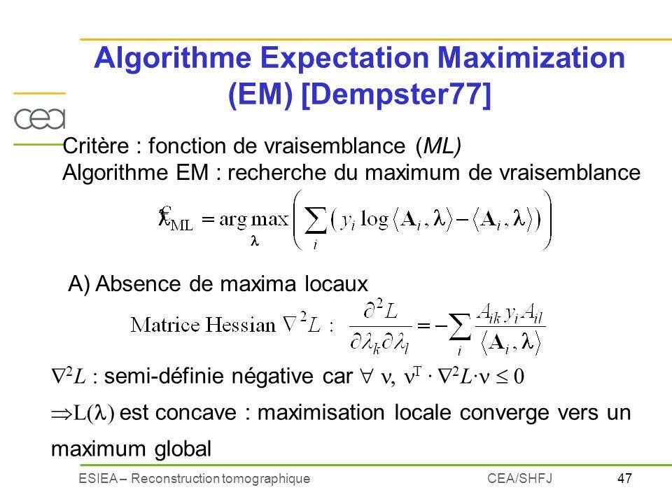 47ESIEA – Reconstruction tomographiqueCEA/SHFJ Algorithme Expectation Maximization (EM) [Dempster77] Critère : fonction de vraisemblance (ML) Algorith