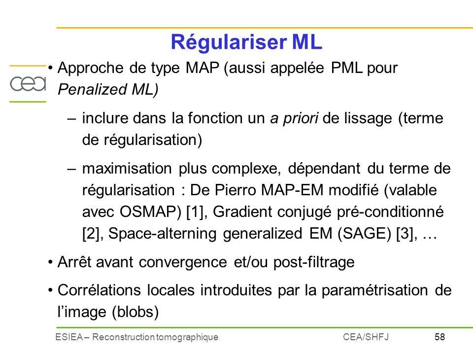 58ESIEA – Reconstruction tomographiqueCEA/SHFJ Régulariser ML Approche de type MAP (aussi appelée PML pour Penalized ML) –inclure dans la fonction un