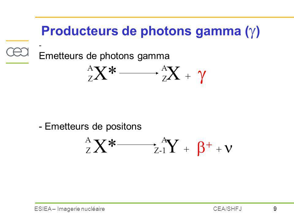 10ESIEA – Imagerie nucléaireCEA/SHFJ Emission dun photon lors du retour dun noyau de létat excité à létat stable X* X + - rayonnement pas directement ionisant - spectre de raies : photons émis à des énergies bien déterminées éradioisotope caractérisé par ses énergie démission Emetteurs de photons A Z A Z 99m 43 99 43 Tc 142,7 keV 140,5 keV 0 keV Tc 1 2 3