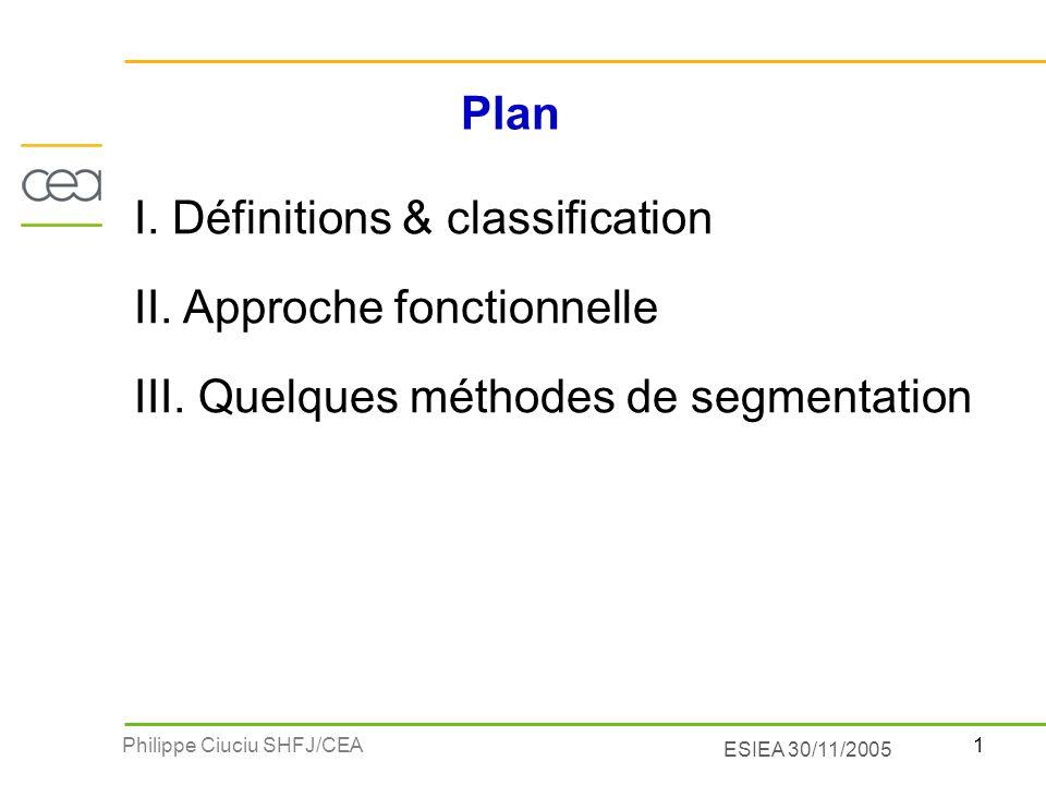 1Philippe Ciuciu SHFJ/CEA ESIEA 30/11/2005 Plan I. Définitions & classification II. Approche fonctionnelle III. Quelques méthodes de segmentation