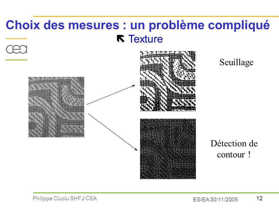 12Philippe Ciuciu SHFJ/CEA ESIEA 30/11/2005 Choix des mesures : un problème compliqué Texture Détection de contour ! Seuillage