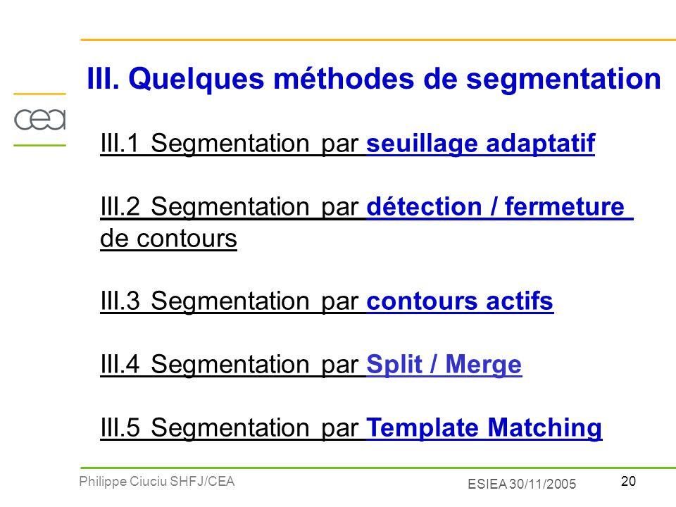 20Philippe Ciuciu SHFJ/CEA ESIEA 30/11/2005 III. Quelques méthodes de segmentation III.1 Segmentation par seuillage adaptatif III.2 Segmentation par d