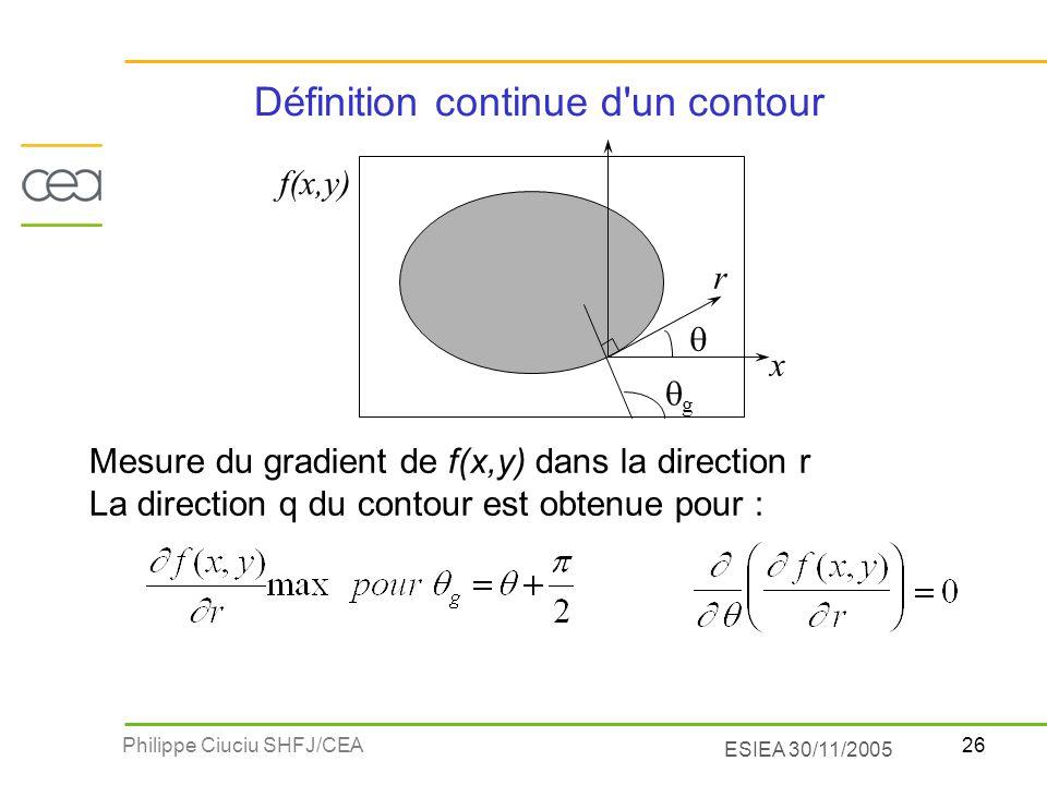 26Philippe Ciuciu SHFJ/CEA ESIEA 30/11/2005 Définition continue d'un contour Mesure du gradient de f(x,y) dans la direction r La direction q du contou