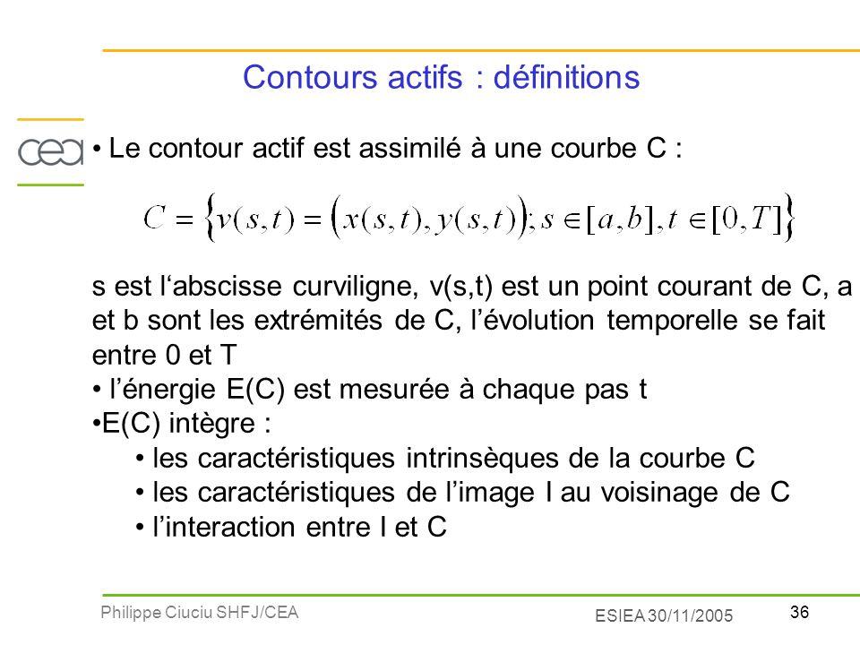 36Philippe Ciuciu SHFJ/CEA ESIEA 30/11/2005 Le contour actif est assimilé à une courbe C : s est labscisse curviligne, v(s,t) est un point courant de