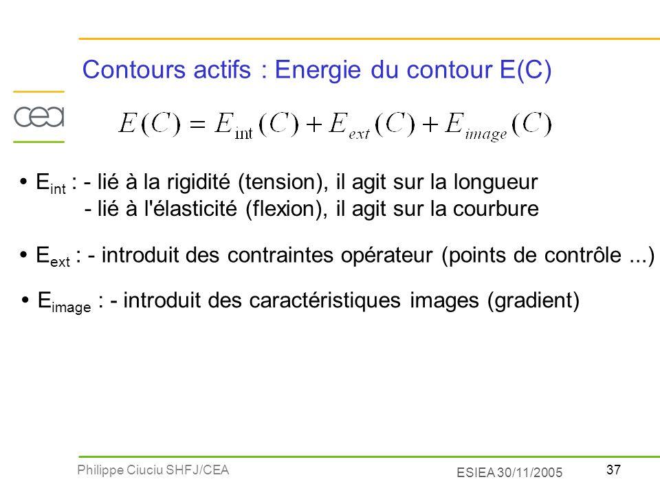37Philippe Ciuciu SHFJ/CEA ESIEA 30/11/2005 Contours actifs : Energie du contour E(C) E int : - lié à la rigidité (tension), il agit sur la longueur -