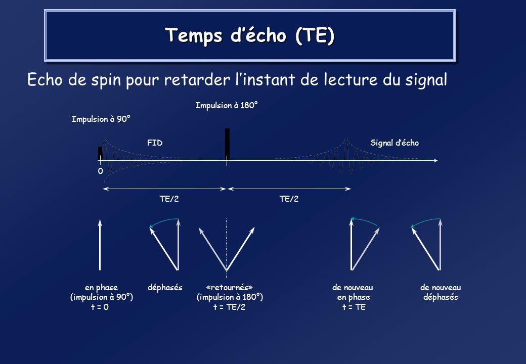 RMN – Signal mesuré x y B0B0 M Fin de l'impulsion à 90° M M 0 Précession libre et retour à l'état initial y B0B0 M x MZMZ T1 : Temps de repousse ou de