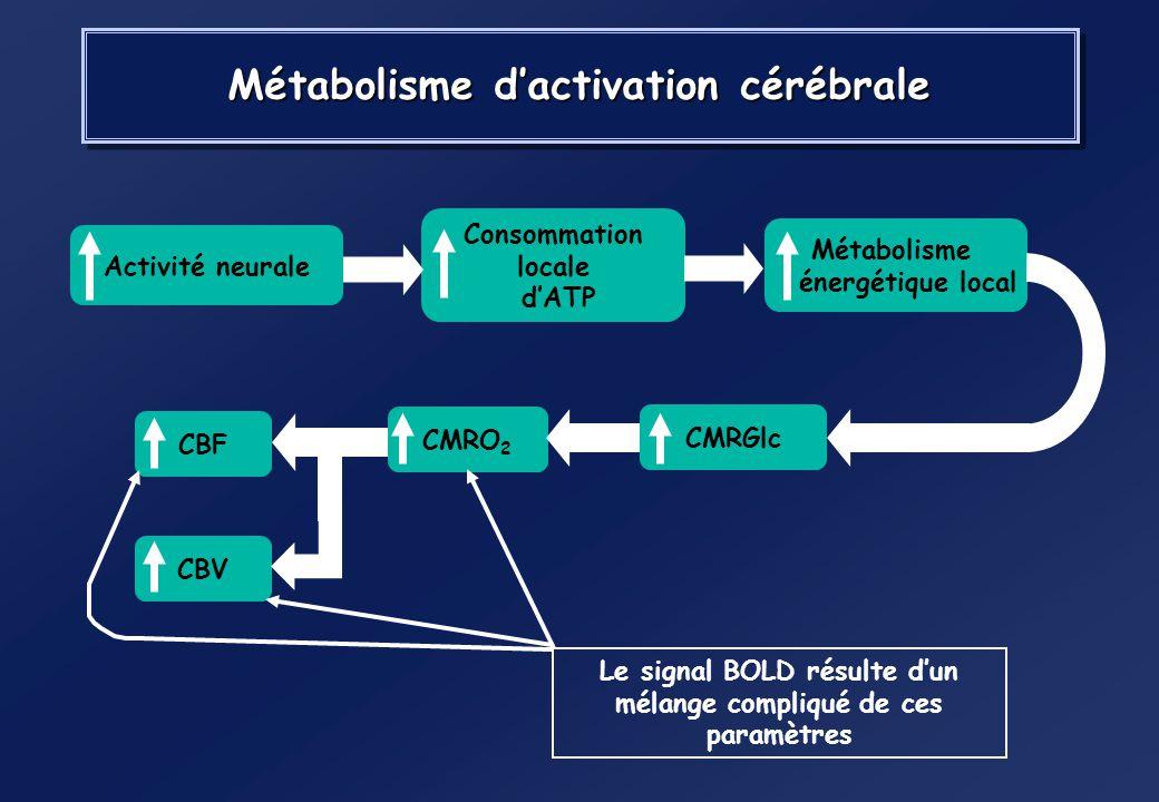 Effet BOLD=Blood Oxygenation Level-Dependent (Ogawa et al. 1990) Produit de contraste intrinsèque : (HbO2) Oxyhémoglobine (HbO2) : diamagnétique (Hb)