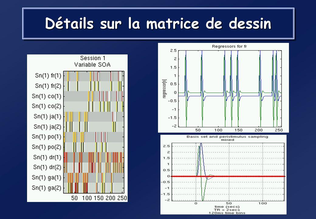 étude du langage (Pallier et al. 2002) Carte SPM p-value corrigée Matrice de dessin expérimental Activations fonctionnelles superposées à lanatomie An