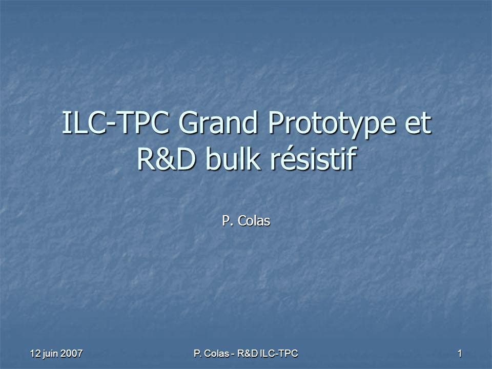 12 juin 2007 P. Colas - R&D ILC-TPC 1 ILC-TPC Grand Prototype et R&D bulk résistif P. Colas