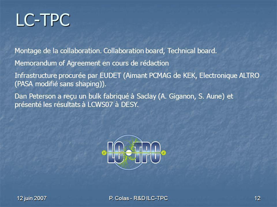 12 juin 2007P.Colas - R&D ILC-TPC12 LC-TPC Montage de la collaboration.