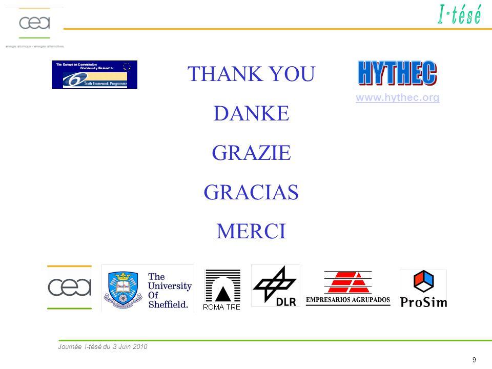 Journée I-tésé du 3 Juin 2010 9 THANK YOU DANKE GRAZIE GRACIAS MERCI www.hythec.org