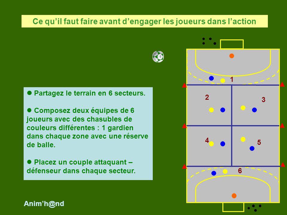Partagez le terrain en 6 secteurs. Composez deux équipes de 6 joueurs avec des chasubles de couleurs différentes : 1 gardien dans chaque zone avec une