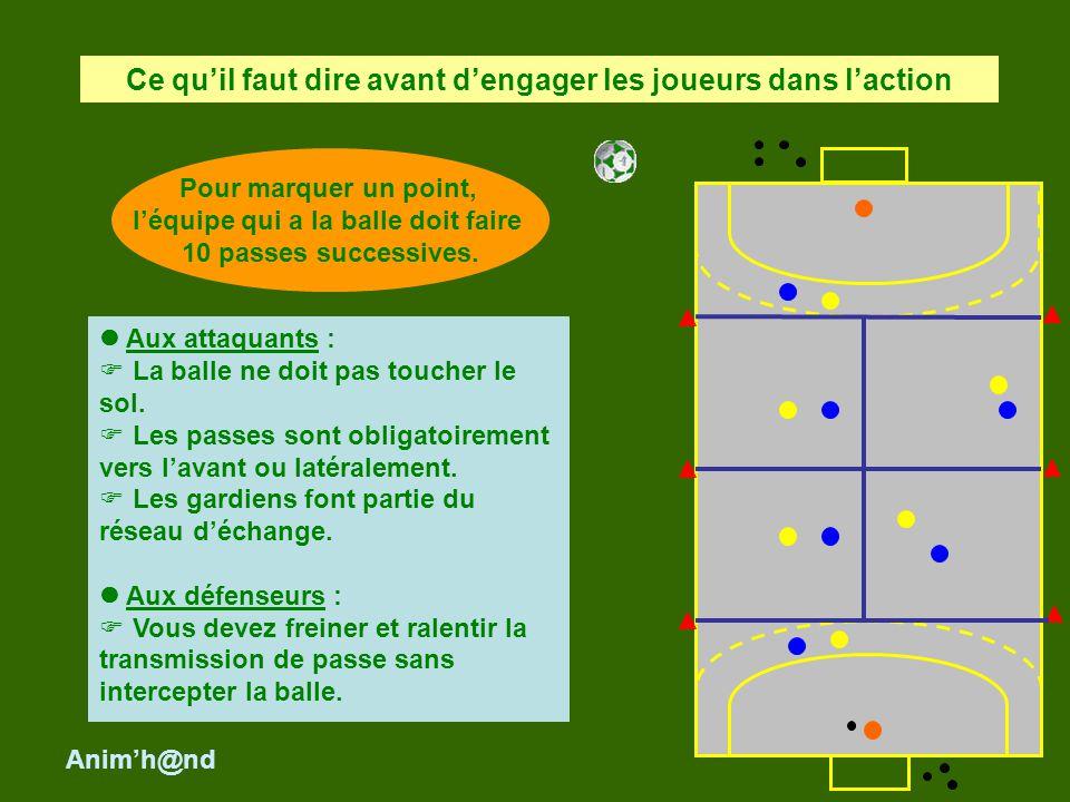 Aux attaquants : La balle ne doit pas toucher le sol. Les passes sont obligatoirement vers lavant ou latéralement. Les gardiens font partie du réseau