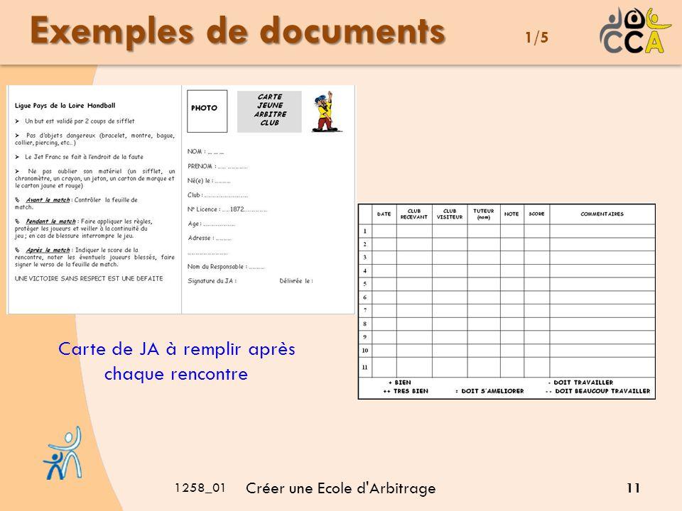1258_01 Créer une Ecole d Arbitrage 11 Exemples de documents Exemples de documents 1/5 Carte de JA à remplir après chaque rencontre
