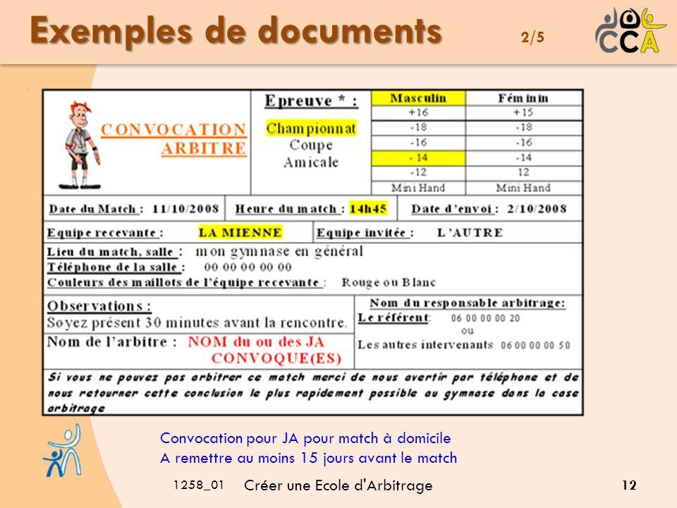 1258_01 Créer une Ecole d Arbitrage 12 Convocation pour JA pour match à domicile A remettre au moins 15 jours avant le match Exemples de documents Exemples de documents 2/5