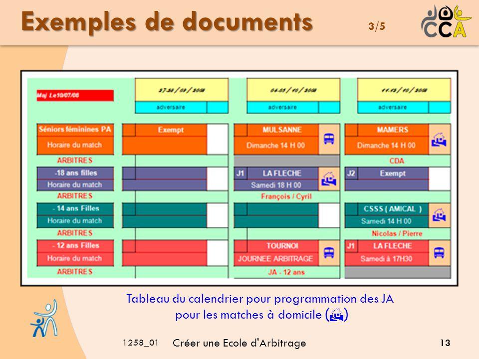 1258_01 Créer une Ecole d'Arbitrage 13 Exemples de documents Exemples de documents 3/5 Tableau du calendrier pour programmation des JA pour les matche