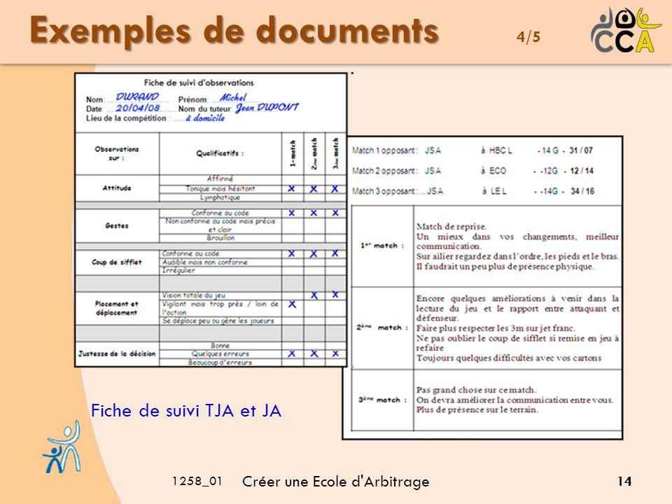 1258_01 Créer une Ecole d Arbitrage 14 Exemples de documents Exemples de documents 4/5 Fiche de suivi TJA et JA