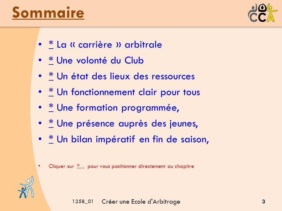 1258_01 Créer une Ecole d Arbitrage 4 La «Carrière » arbitrale Formation et gestion par les diverses instances