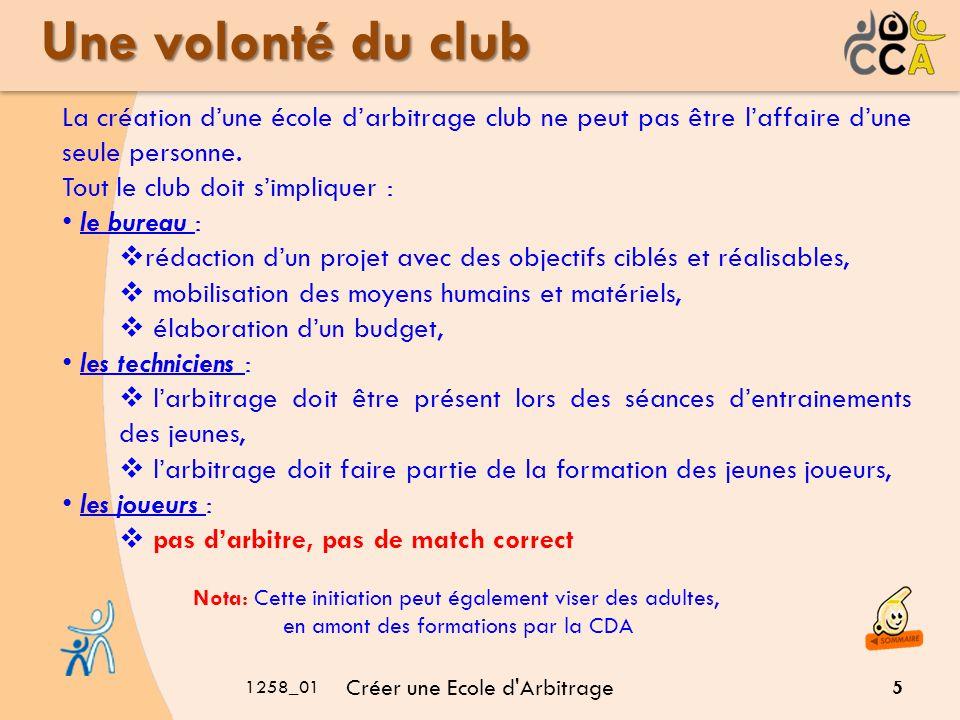 1258_01 Créer une Ecole d Arbitrage 5 Une volonté du club Nota: Cette initiation peut également viser des adultes, en amont des formations par la CDA La création dune école darbitrage club ne peut pas être laffaire dune seule personne.