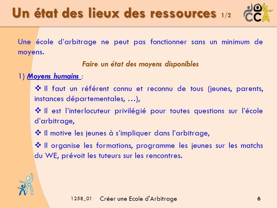 1258_01 Créer une Ecole d'Arbitrage 6 Un état des lieux des ressources Un état des lieux des ressources 1/2 Une école darbitrage ne peut pas fonctionn