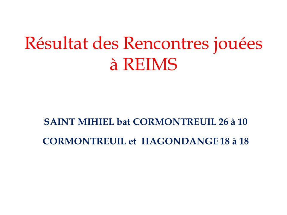 Résultat des Rencontres jouées à REIMS SAINT MIHIEL bat CORMONTREUIL 26 à 10 CORMONTREUIL et HAGONDANGE 18 à 18