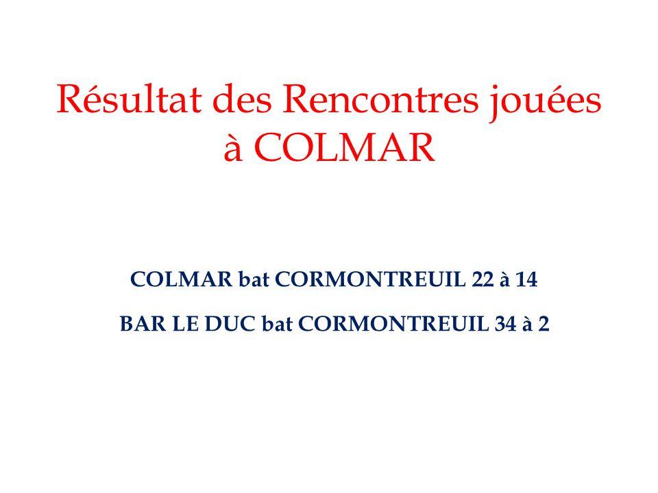 Résultat des Rencontres jouées à COLMAR COLMAR bat CORMONTREUIL 22 à 14 BAR LE DUC bat CORMONTREUIL 34 à 2