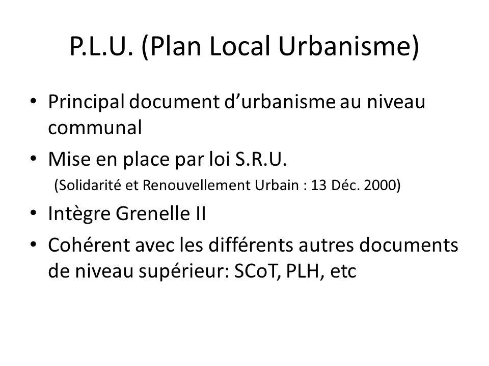 P.L.U. (Plan Local Urbanisme) Principal document durbanisme au niveau communal Mise en place par loi S.R.U. (Solidarité et Renouvellement Urbain : 13