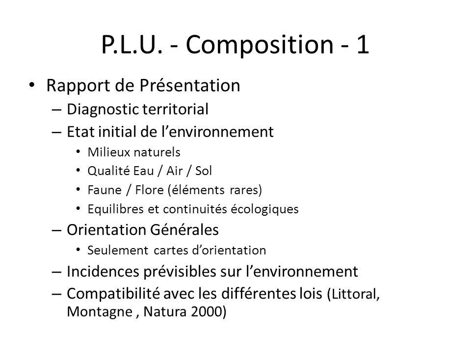 P.L.U. - Composition - 1 Rapport de Présentation – Diagnostic territorial – Etat initial de lenvironnement Milieux naturels Qualité Eau / Air / Sol Fa