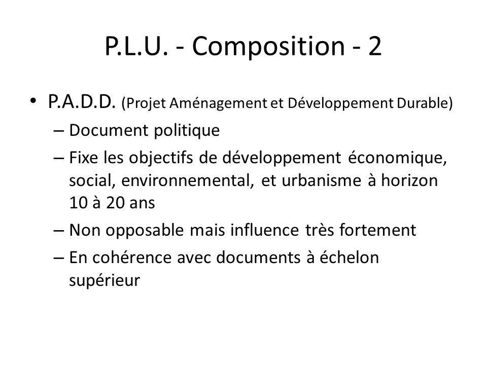 P.L.U. - Composition - 2 P.A.D.D. (Projet Aménagement et Développement Durable) – Document politique – Fixe les objectifs de développement économique,
