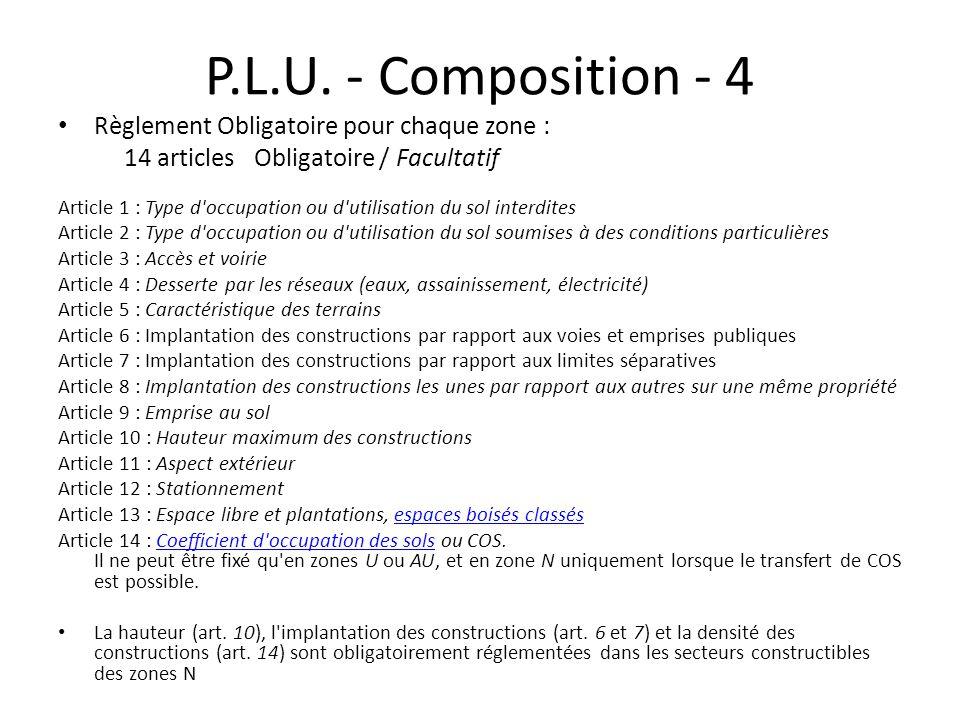 P.L.U. - Composition - 4 Règlement Obligatoire pour chaque zone : 14 articles Obligatoire / Facultatif Article 1 : Type d'occupation ou d'utilisation