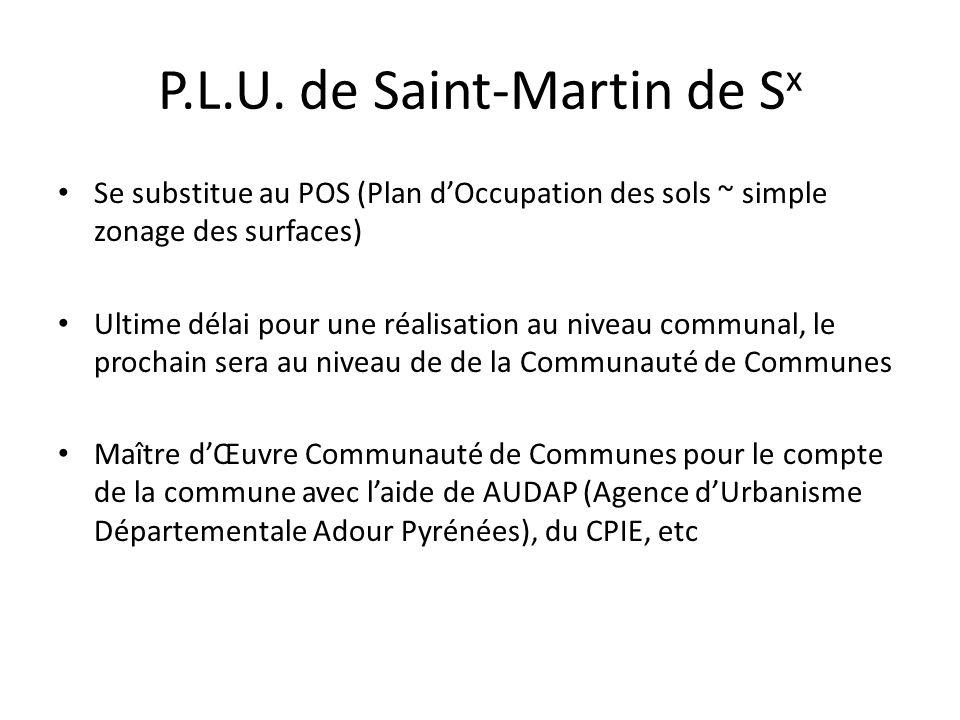P.L.U. de Saint-Martin de S x Se substitue au POS (Plan dOccupation des sols ~ simple zonage des surfaces) Ultime délai pour une réalisation au niveau