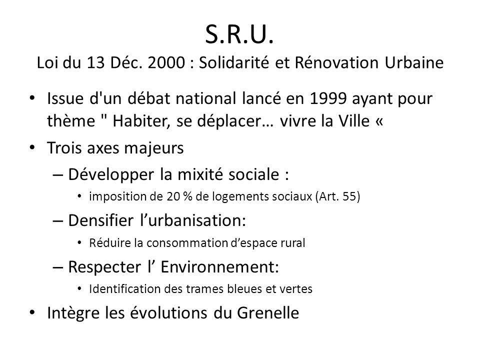 S.R.U. Loi du 13 Déc. 2000 : Solidarité et Rénovation Urbaine Issue d'un débat national lancé en 1999 ayant pour thème