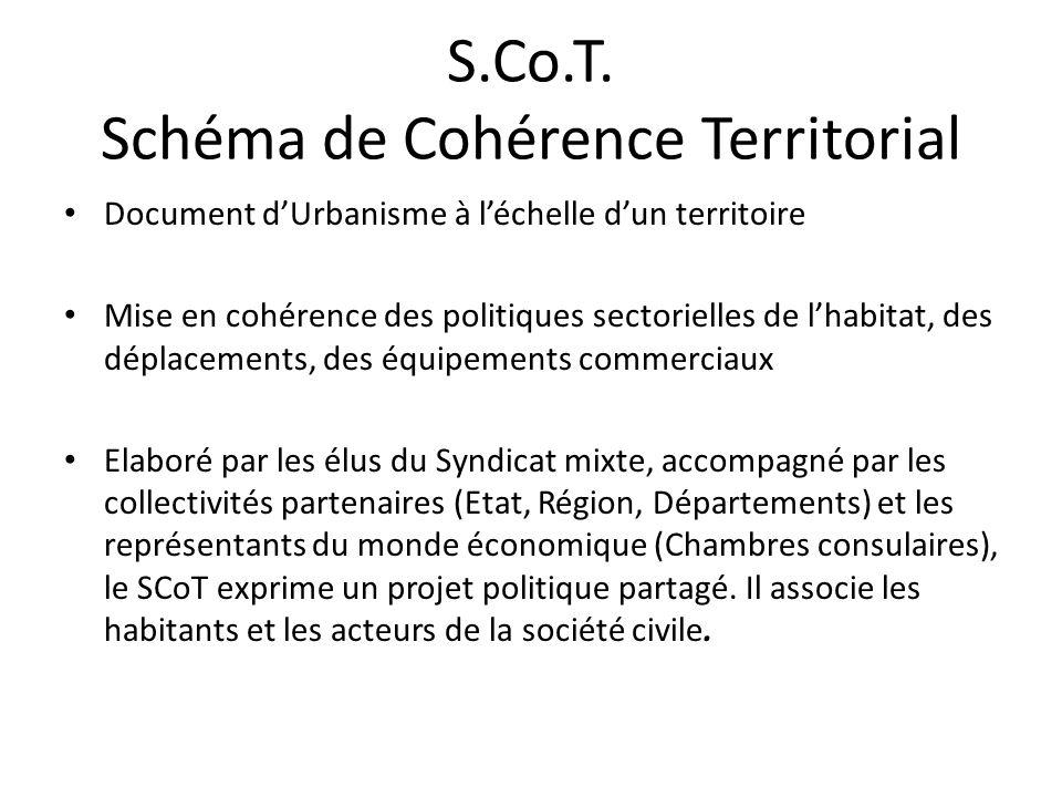 S.Co.T. Schéma de Cohérence Territorial Document dUrbanisme à léchelle dun territoire Mise en cohérence des politiques sectorielles de lhabitat, des d
