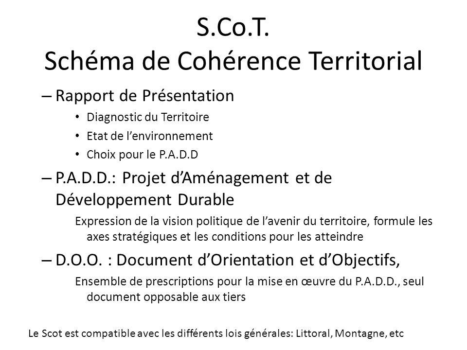 S.Co.T. Schéma de Cohérence Territorial – Rapport de Présentation Diagnostic du Territoire Etat de lenvironnement Choix pour le P.A.D.D – P.A.D.D.: Pr