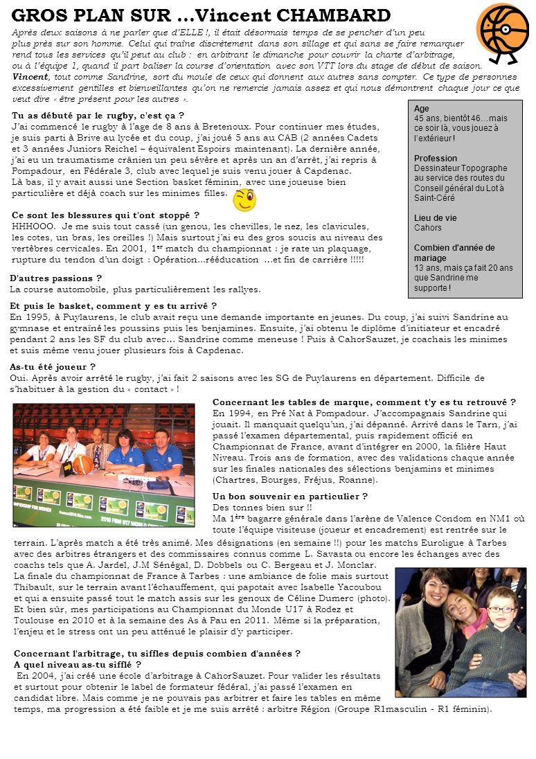 Après un début de championnat catastrophique, enchaînant 5 défaites de rang, puis larrêt sans explications de trois joueurs de leffectif, les jeunes joueurs de Philippe Cauffet ont néanmoins réussi une belle série de 3 victoires consécutives sur les mois de Novembre et Décembre contre les Costes Rouges, Basket en Ségala et Rieupeyroux.