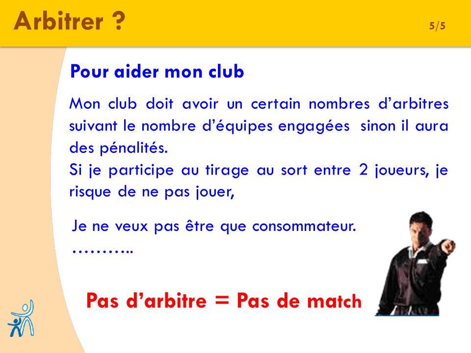 Arbitrer ? 5/5 Pour aider mon club Mon club doit avoir un certain nombres darbitres suivant le nombre déquipes engagées sinon il aura des pénalités. S