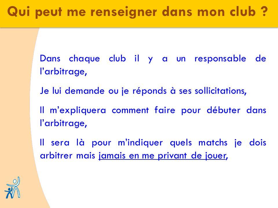 Qui peut me renseigner dans mon club ? Dans chaque club il y a un responsable de larbitrage, Je lui demande ou je réponds à ses sollicitations, Il mex
