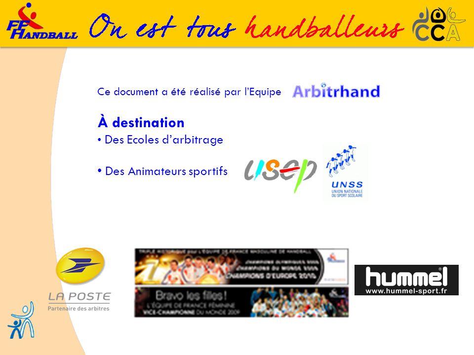 Ce document a été réalisé par lEquipe À destination Des Ecoles darbitrage Des Animateurs sportifs