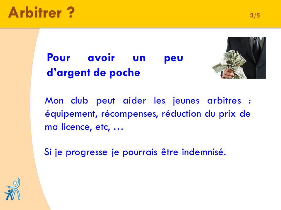 Arbitrer ? 3/5 Pour avoir un peu dargent de poche Mon club peut aider les jeunes arbitres : équipement, récompenses, réduction du prix de ma licence,