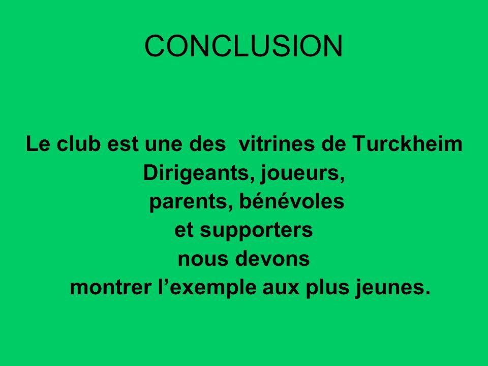 CONCLUSION Le club est une des vitrines de Turckheim Dirigeants, joueurs, parents, bénévoles et supporters nous devons montrer lexemple aux plus jeune