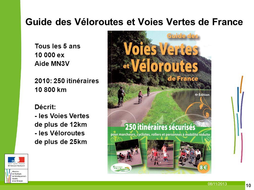 10 08/11/2013 Guide des Véloroutes et Voies Vertes de France Tous les 5 ans 10 000 ex Aide MN3V 2010: 250 itinéraires 10 800 km Décrit: - les Voies Ve