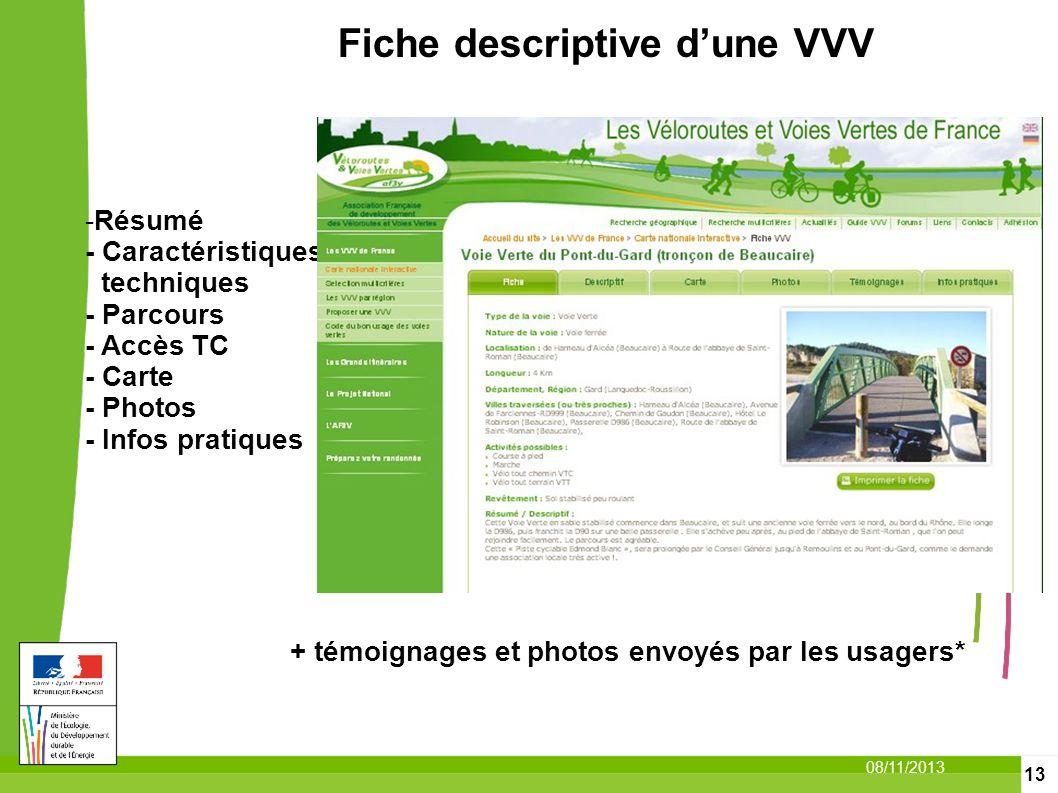 13 08/11/2013 -Résumé - Caractéristiques techniques - Parcours - Accès TC - Carte - Photos - Infos pratiques Fiche descriptive dune VVV + témoignages