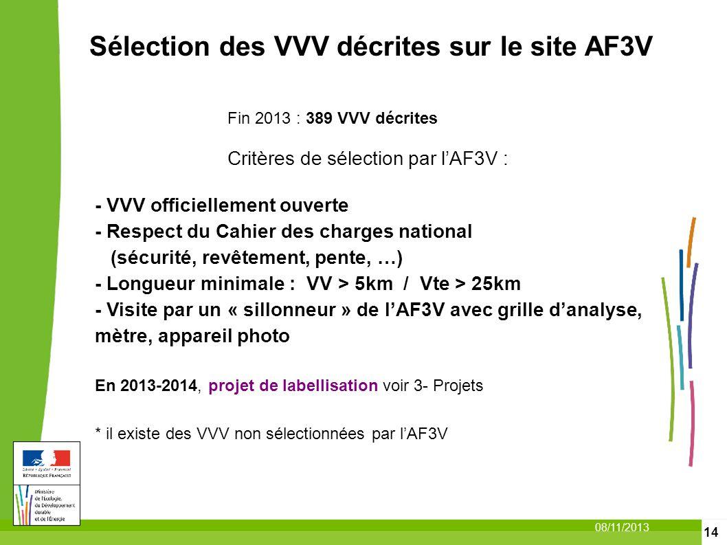 14 08/11/2013 Sélection des VVV décrites sur le site AF3V Fin 2013 : 389 VVV décrites Critères de sélection par lAF3V : - VVV officiellement ouverte -
