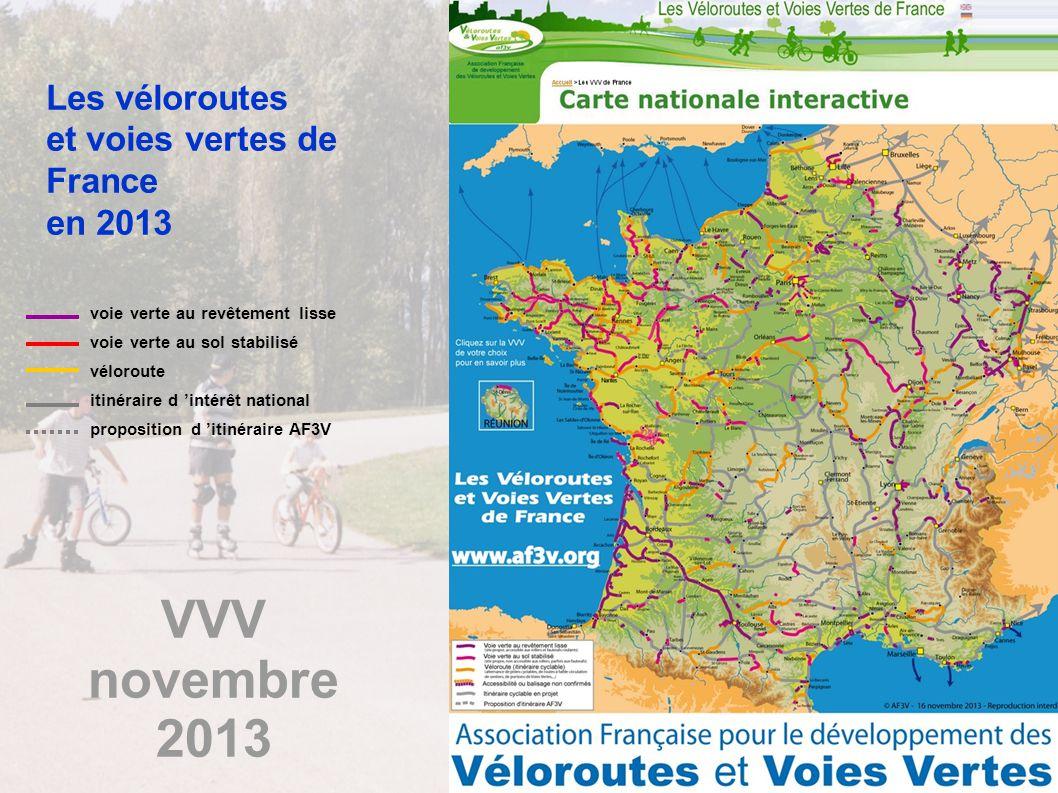 15 08/11/2013 Les véloroutes et voies vertes de France en 2013 voie verte au revêtement lisse voie verte au sol stabilisé véloroute itinéraire d intér