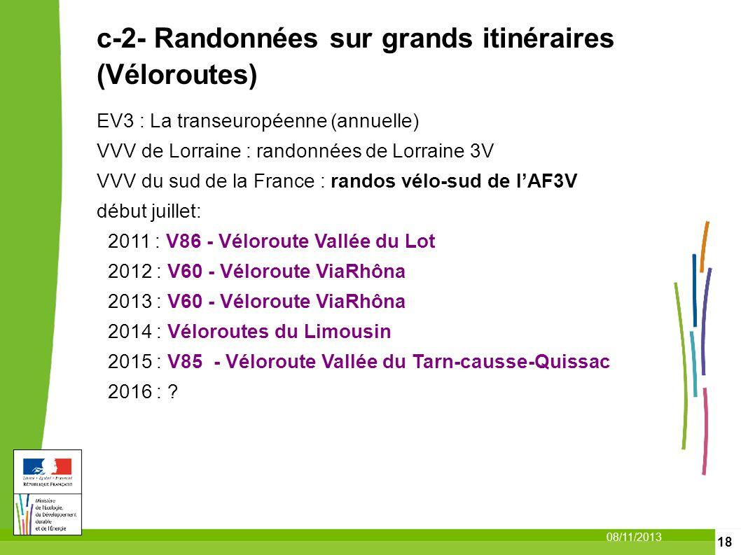 18 08/11/2013 c-2- Randonnées sur grands itinéraires (Véloroutes) EV3 : La transeuropéenne (annuelle) VVV de Lorraine : randonnées de Lorraine 3V VVV