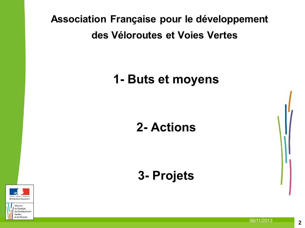 2 08/11/2013 Association Française pour le développement des Véloroutes et Voies Vertes 1- Buts et moyens 2- Actions 3- Projets
