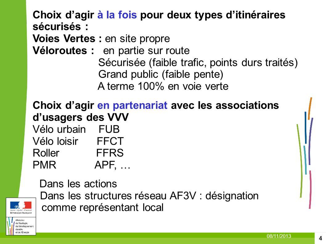 4 08/11/2013 Choix dagir à la fois pour deux types ditinéraires sécurisés : Voies Vertes : en site propre Véloroutes : en partie sur route Sécurisée (
