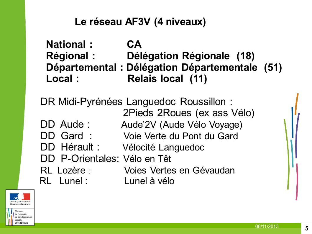 5 08/11/2013 Le réseau AF3V (4 niveaux) National : CA Régional : Délégation Régionale (18) Départemental : Délégation Départementale (51) Local : Rela