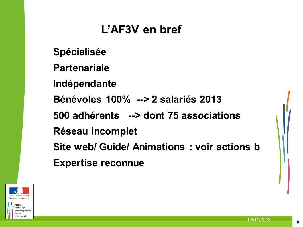 6 08/11/2013 LAF3V en bref Spécialisée Partenariale Indépendante Bénévoles 100% --> 2 salariés 2013 500 adhérents --> dont 75 associations Réseau inco