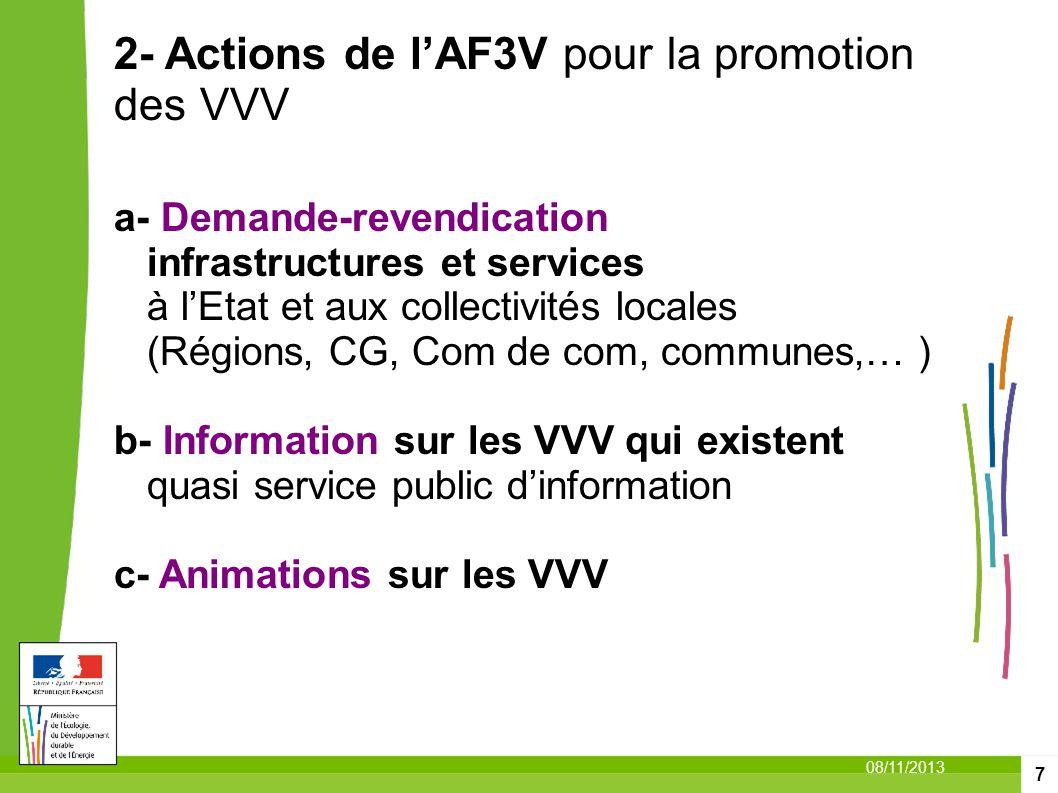 7 08/11/2013 2- Actions de lAF3V pour la promotion des VVV a- Demande-revendication infrastructures et services à lEtat et aux collectivités locales (